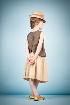 Lovely, great lines....little girl neutral linen skirt and cotton top with hat // via caramel baby & child uk's spring 2012 lookbook