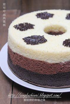 I love the kitchen taste of happiness: Double cocoa chiffon cake ~~~ tricolor