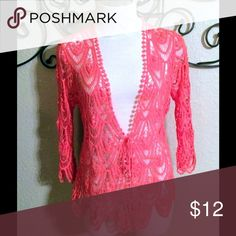 Coral Crocheted Top Coral crocheted top to be worn over a tank top in the summer or a long sleeve tee in the winter. 100% cotton. Never worn. Cato Tops