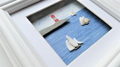 Coastal Wall Decor, Unique Quirky Gift, Framed Coastal Wall Art Made in Cornwall Coastal Wall Decor, Coastal Art, Quirky Gifts, Beautiful Ocean, Box Frames, Nautical Theme, Unique Home Decor, Sea Shells, Lighthouse