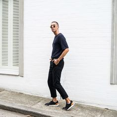 Mens Fashion Style & Outfit inspo by Blogger MR TURNER. New Balance 247 Luxe sneakers. Paired with Assembly Label knitted tee, gold Gucci logo belt, H&M Studio Collection pants.