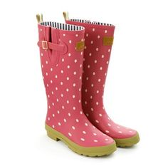 Joules pink spot wellies