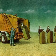 Polish artist Pawel Kuczynski has worked in satirical illustration since specializing in thought-provoking images that make his audience question their everyday lives. Image F, Sketch Manga, Terence Mckenna, Art Postal, Satirical Illustrations, Satirical Cartoons, Social Art, Social Media, Political Art