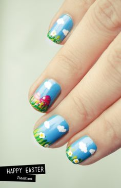spring grass and blue sky nail art