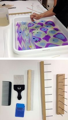 "Top: ""Stirring"" the colors with a dowel. Bottom: Various combs and rakes for creating complex patterns."