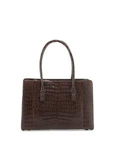 L0H0L Nancy Gonzalez Small Worker Bee Crocodile Tote Bag, Chocolate