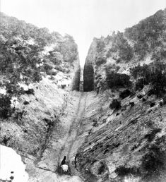 Circa 1880 view of Beale's Cut at Newhall Pass. Courtesy of the Title Insurance and Trust / C. California History, Vintage California, California Love, Southern California, Bakersfield California, Santa Clarita Valley, Title Insurance, San Fernando Valley, Historical Landmarks