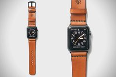 Bexar Goods Co. Tan Leather Band for Apple Watch.