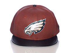 Philadephia Eagles Faux Football Leather Strapback Cap by NEW ERA x NFL
