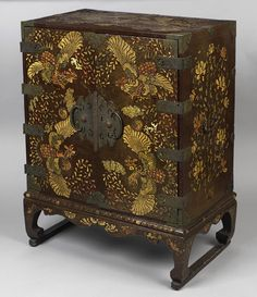 Chest, Joseon dynasty (1392–1910), 19th century  Korea  Lacquered wood with mother-of-pearl, tortoiseshell, sharkskin, and brass-wire inlay, and brass fittings