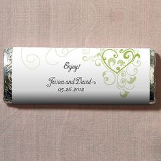 Weddingstar Heart Filigree Nut Free Gourmet Milk Chocolate Bar Personalized Chocolatewedding