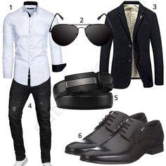 Eleganter Business-Style für Herren mit weißem Amaci&Sons Hemd, schwarzer A. Salvarini Jeans, Pilotenbrille, schickem Sakko, Ledergürtel und Bugatti Schnürschuhen. #MensFashionMenswear