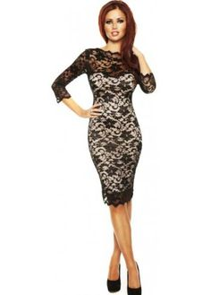 ‹ View All Amy Childs      ‹ View All Designer Cocktail Dresses      ‹ View All Designer Midi Dresses    Amy Childs Dress Lacey Long Sleeve Black Bodycon Lace Midi Dress