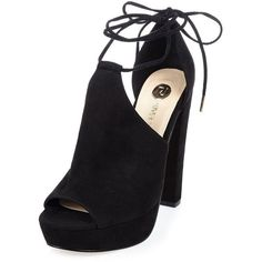 River Island Black suede block platform heels ($61) ❤ liked on Polyvore featuring shoes, pumps, black platform pumps, suede platform pumps, suede pumps, block heel shoes and peeptoe pumps