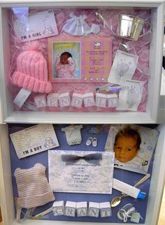 SHADOW BOXES WITH NEWBORN ITEMS...i have both the kids stuff all tucked away in a box above the closet getting dusty id love to display it like these :)