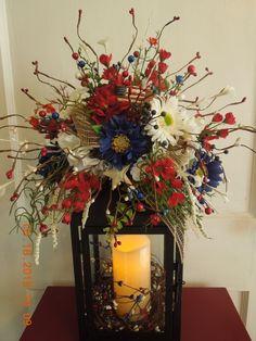 "16"" Summer Red,White,Blue Lantern Floral Swag Arrangement !!! by 4Seasonsflorals on Etsy"