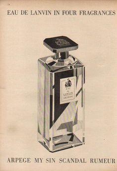 1947 EAU DE Lanvin Arpege MY SIN Scandal Rumeur Perfume Bottle Four Fragrance