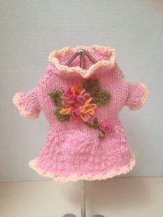 XS Hand Knit Pink Flower Sweater Dress Chihuahua by RocknHotdog
