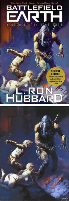 FRANK FRAZETTA - Battlefield Earth by L. Ron Hubbard - 2016 Galaxy Press - cover by isfdb - print by gavinrothery.com