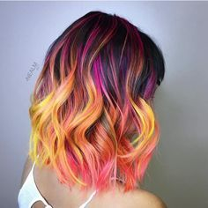 Add some orange, pink, purple or any color for some more edge to your hair! @hotforbeauty