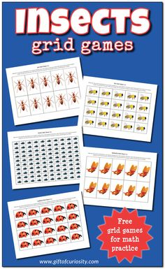 FREE Insects Grid Games for practicing basic math skills. Featuring 10-grid, 20-grid, and 100-grid worksheets with ants, bees, beetles, butterflies, and ladybugs. Perfect for kids in preschool through first grade. || Gift of Curiosity