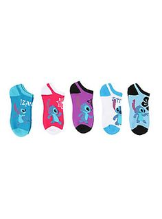Disney Lilo & Stitch No-Show Socks 5 Pair, , hi-res