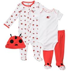 Way too cute. 4 piece ladybug outfit set #baby clothes