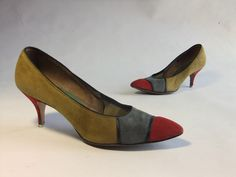 Vintage 1960s Shoes // The Art Gallery Bold Color Block by FabGabs, $40.00