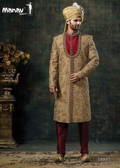 Make the heads flip after you dress up in such a mens red and beige colour rajputana groom sherwani. It Come with matching bottom. Note: Mojdi and Safa(turban) only for photoshoot purpose. Indian Groom Wear, Indian Wedding Wear, Wedding Men, Wedding Dress, Sherwani Groom, Wedding Sherwani, Groom Colours, Mens Ethnic Wear, Western Dresses