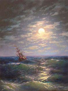 48  Moonlit Night over the Sea  5x 7