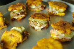 Mini Cuban Tostone Sandwiches - The Food in My Beard Cuban Dishes, Spanish Dishes, Spanish Food, Puerto Rican Recipes, Mexican Food Recipes, Cuban Appetizers, Puerto Rico Food, Cuban Cuisine, Good Food