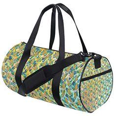 Golden Pineapples Women Sports Gym Totes Bag Multi-Function Nylon Travel Shoulder Bag