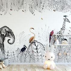 Tropical wildlife wallpaper nursery. 3 Ways To Create Your Own Home Art Mural - Chloe Dominik