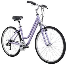 Diamondback Bicycles 2016 Women's Vital 2 Complete Hybrid Bike, Light Purple, Frame Mountain Bikes For Sale, Mountain Bike Reviews, Mountain Biking, Bike Prices, Beach Cruiser Bikes, Beach Cruisers, Bicycle Women, Cool Bike Accessories, Bicycles