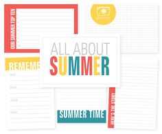 FREE 3x4 and 4x6 printable journaling + filler cards to create a mini all about Summer album. #projectlife