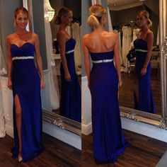Sweetheart Satin Prom Dresses, Column Prom Dress with Side Slit, Royal Blue Prom Dress with Beaded Belt