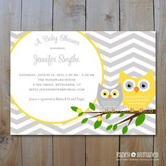 G&Y owl invitations. also has chevrons. awesome.
