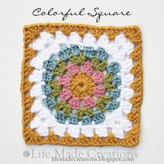"""Life Made Creations: Crochet Granny square like a """"traditional"""" square but round in the center"""