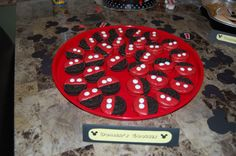 """""""Mickey's shorts"""" cookies (inspired by another Pinterest user) using Oreos, red chocolate and white icing."""