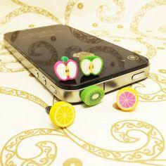 Polymer Clay Apple Orange Kiwi Fruit Dust Plug 3.5mm Phone Accessory Charm Headphone Jack Earphone Cap iPhone 4 4S 5 iPad HTC Samsung on Etsy, $1.99