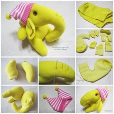 This yellow sock elephant with a personality hat is bright and cute !  Tutorial--> http://wonderfuldiy.com/wonderful-diy-adorable-sock-elephant/