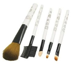 "Rosallini Flowers Print White Handle 5 in 1 Makeup Tool Set Blusher Brush Eyebrow Comb by Rosallini. $5.29. Package Content : 3 x Blusher Brush,1 x Eyebrow Comb,1 x Eyeshadow Applicator. Material : Plastic, Metal, Foam, Synthetic Hair, Nylon;Brush Size : The Biggest: 14.5 x 1.3 x 3.5cm / 5.7"" x 0.5"" x 1.4"" (L*Handle D*Hair L),The Smallest: 11.8 x 0.7 x 0.9cm / 4.6"" x 0.3"" x 0.4"" (L*Handle D*Hair L). Product Name : Makeup Brush Set;Color : White, Brown, Black. ..."