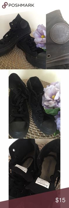 Black Converse Hightops * Authentic black converses  * In great condition, worn once  * Size: 5 (Men's), 7 (Women's)  * Accepting offers, via the offer option only. Converse Shoes Sneakers