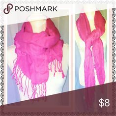 Hot pink scarf 100% viscose, EUC Accessories Scarves & Wraps