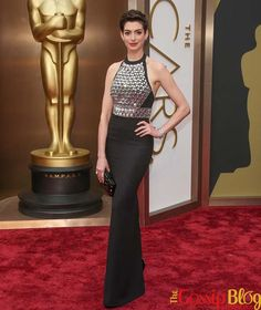 Anne Hathaway in a Gucci dress at the 2014 Academy Awards in Hollywood, CA. Oscars Red Carpet Dresses, Red Carpet Gowns, Oscar Dresses, Evening Dresses, Prom Dresses, Celebrity Inspired Dresses, Celebrity Dresses, Dresses For Less, Dresses For Sale