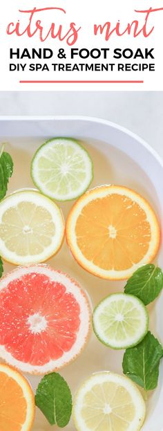 This citrus mint hand and foot soak is the perfect way to relax at the end of a long day. Click through the pin to see the full recipe in addition three other DIY spa treatments from Florida beauty blogger Ashley Brooke Nicholas and @crest! #crest #sponsored | Citrus hand and food soak DIY spa treatment recipe | DIY beauty | beauty treatment recipes | spa at home | at home pedicure | how to do a pedicure at home | how to do nails at home