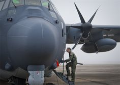 Capt. Steve Visalli, a flight test engineer with the 413th Flight Test Squadron, boards the newly created AC-130J Ghostrider in anticipation of its first official sortie Jan. 31 at Eglin Air Force Base, Fla. (U.S. Air Force photo/Chrissy Cuttita)