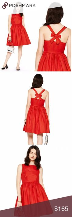 """Kate Spade Red Tanner Bow Back Sleeveless Dress New with tags!  """"whether you're strolling a cobblestone side street, riding your bike, or taking a jaunt on the yacht, tanner is your dress. it was designed with one of our favorite cities—paris—in mind, and the chicness that abounds there.""""  FEATURES  79% cotton 21% silk invisible side zipper on seam pockets  Length: 39"""" Waist: 14"""" (flat) kate spade Dresses"""