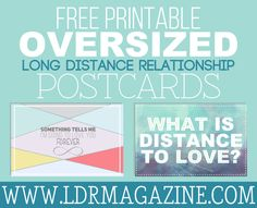 Free Printable Oversized Long Distance Relationship Postcards!
