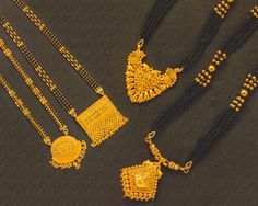 Both traditional and trendy fashion adornments. Designer gold black beads chains and necklace and Magalsutra (Nallapusalu) IMAGE. Gold Bangles Design, Gold Jewellery Design, Bead Jewellery, Beaded Jewelry, Gold Jewelry, Gold Necklace, Latest Jewellery, Statement Jewelry, Gold Mangalsutra Designs